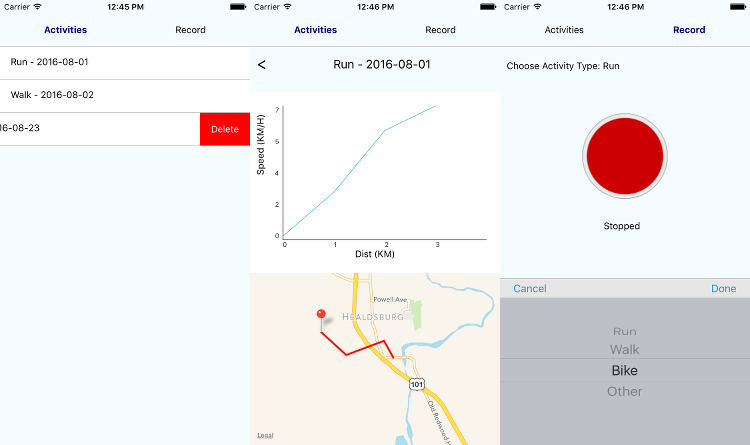 Maps, graphs, and statistics showing the final UI for the SuperFit tracker.